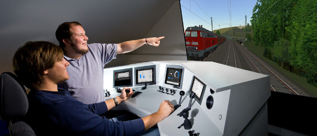 Railway Systems Engineering lab: Driving simulator (c) www.lichtographie.de, FH Aachen