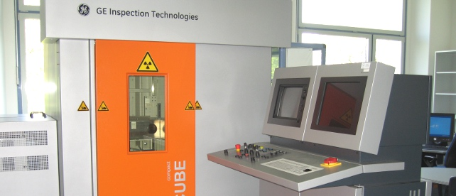 X-ray inspection unit in the lab for nondestructive materials testing, (c) FH Aachen